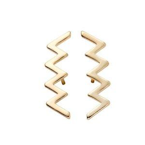 Gold Zig Zag Lightening Bolt Stud Earrings